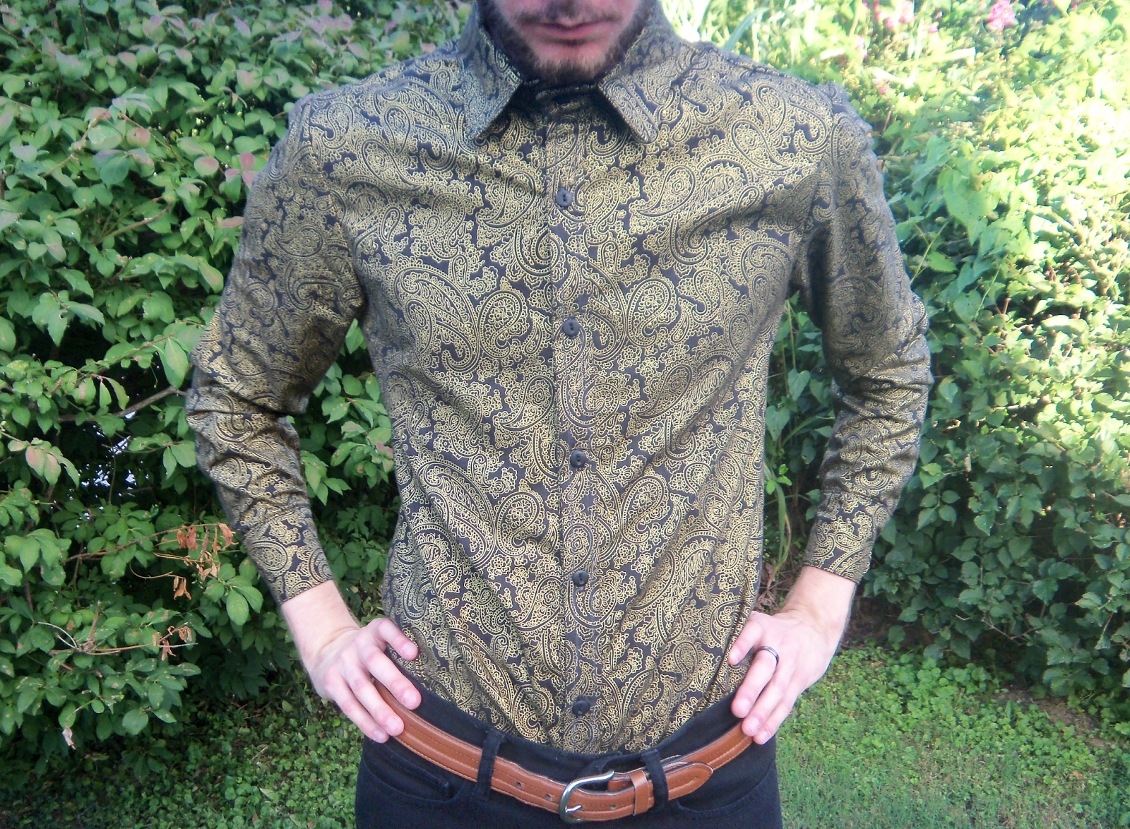Front shot of the black gold paisley shirt