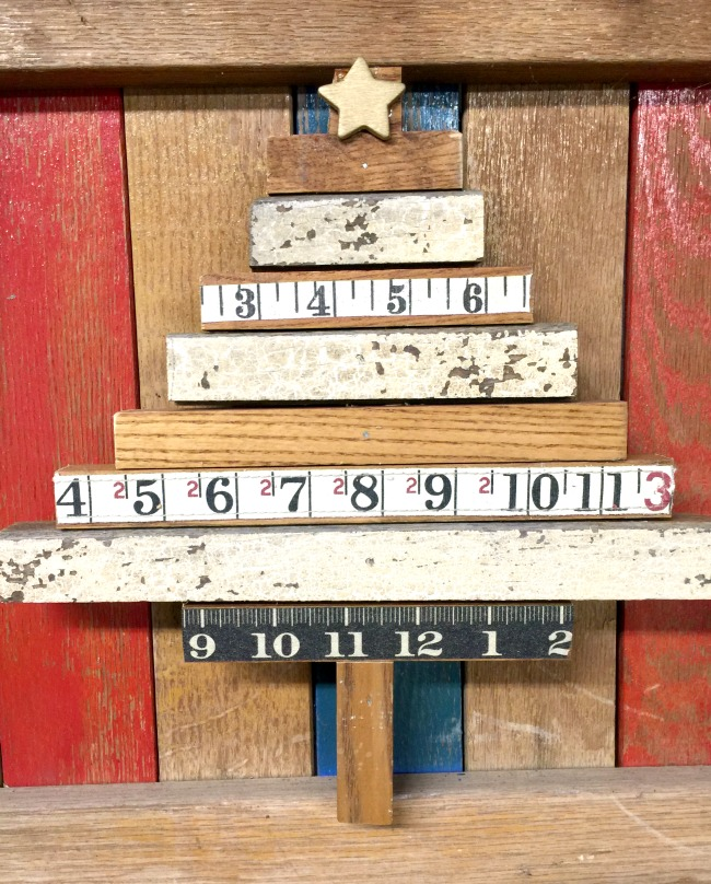 Repurposed Vintage Ruler Washi Tape Christmas Tree Wall Hanging www.homeroad.net