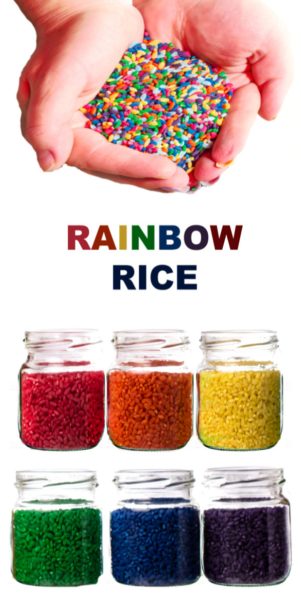 Have all the fun of play sand without all the mess with this rainbow rice recipe for kids!  You can make make rice in every color of the rainbow, and ricewon't mush into carpet like play dough. #rainbowrice #rainboericesensory #coloredrice #coloredricesensorybin #dyedrice #dyedricesensory #howtomakerainbowrice #ricerecipes #riceplayfortoddlers #growingajeweledrose