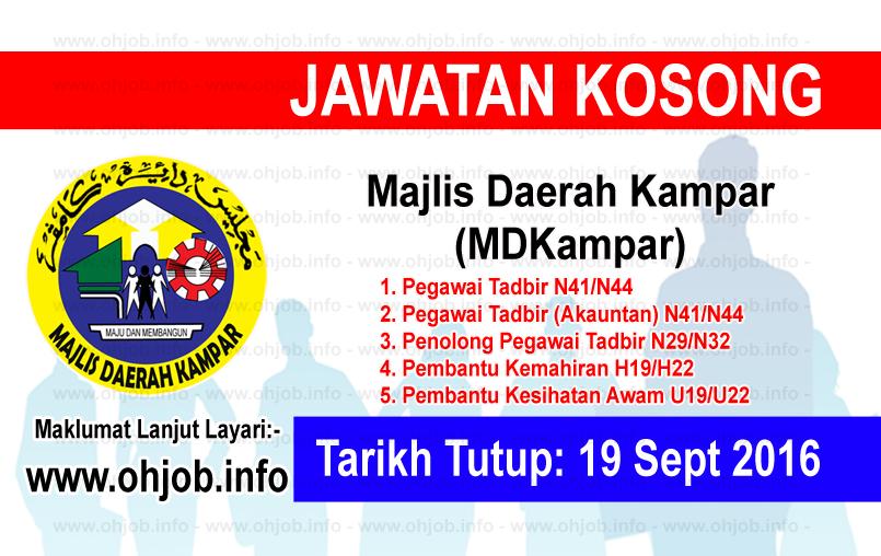 Jawatan Kerja Kosong Majlis Daerah Kampar (MDKampar) logo www.ohjob.info september 2016