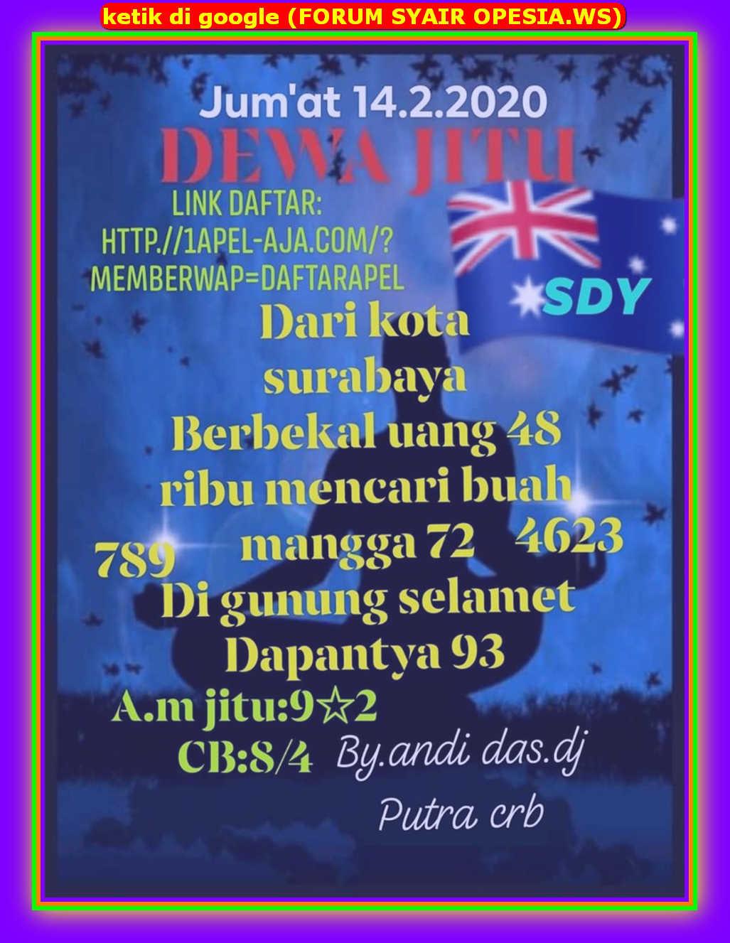 Kode syair Sydney Jumat 14 Februari 2020 8