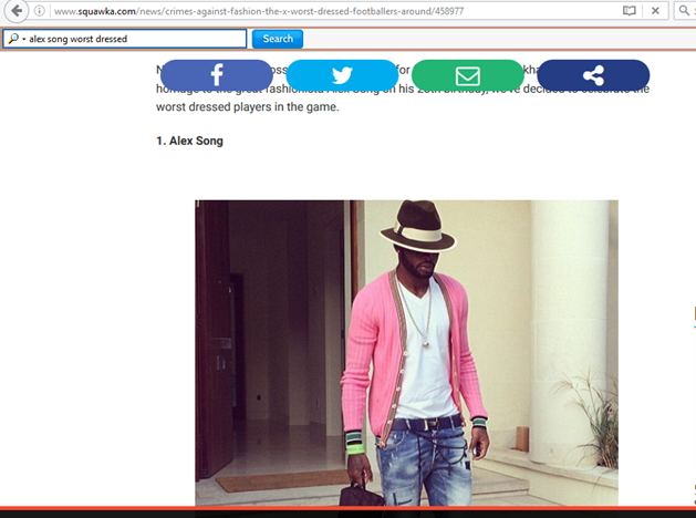 Alex song worst dressed footballer