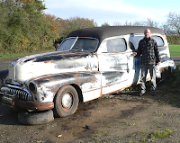 Keith Knights and his 1948 Buick Roadmaster hearse