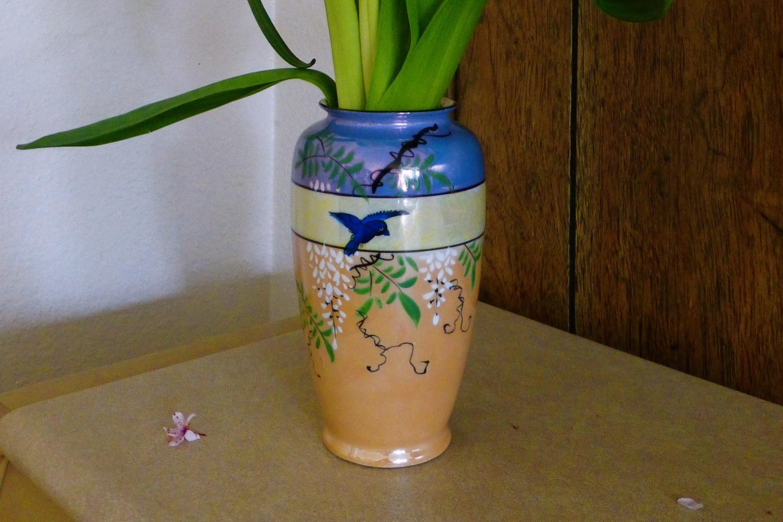 vintage Japanese pearlescent vase, vintage hand painted Japanese vase