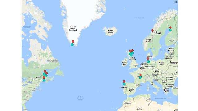 Kartta, jossa on merkattuna mm. paikkoja Pohjoismaista, Grönlannista, Skotlannista ja itäisestä Kanadasta