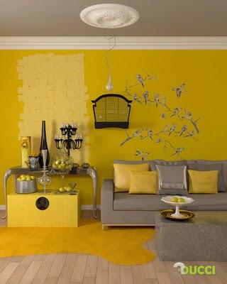 interior design living room color yello yellow 色にこだわっ
