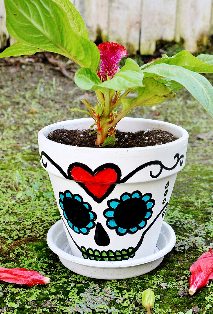 D.I.Y Sugar Skull Planter Under $5- Great for Dia De Los Muertos or Succulents #DoingThe99 #99YourHalloween #AD