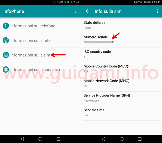 Interfaccia app Android InfoPhone