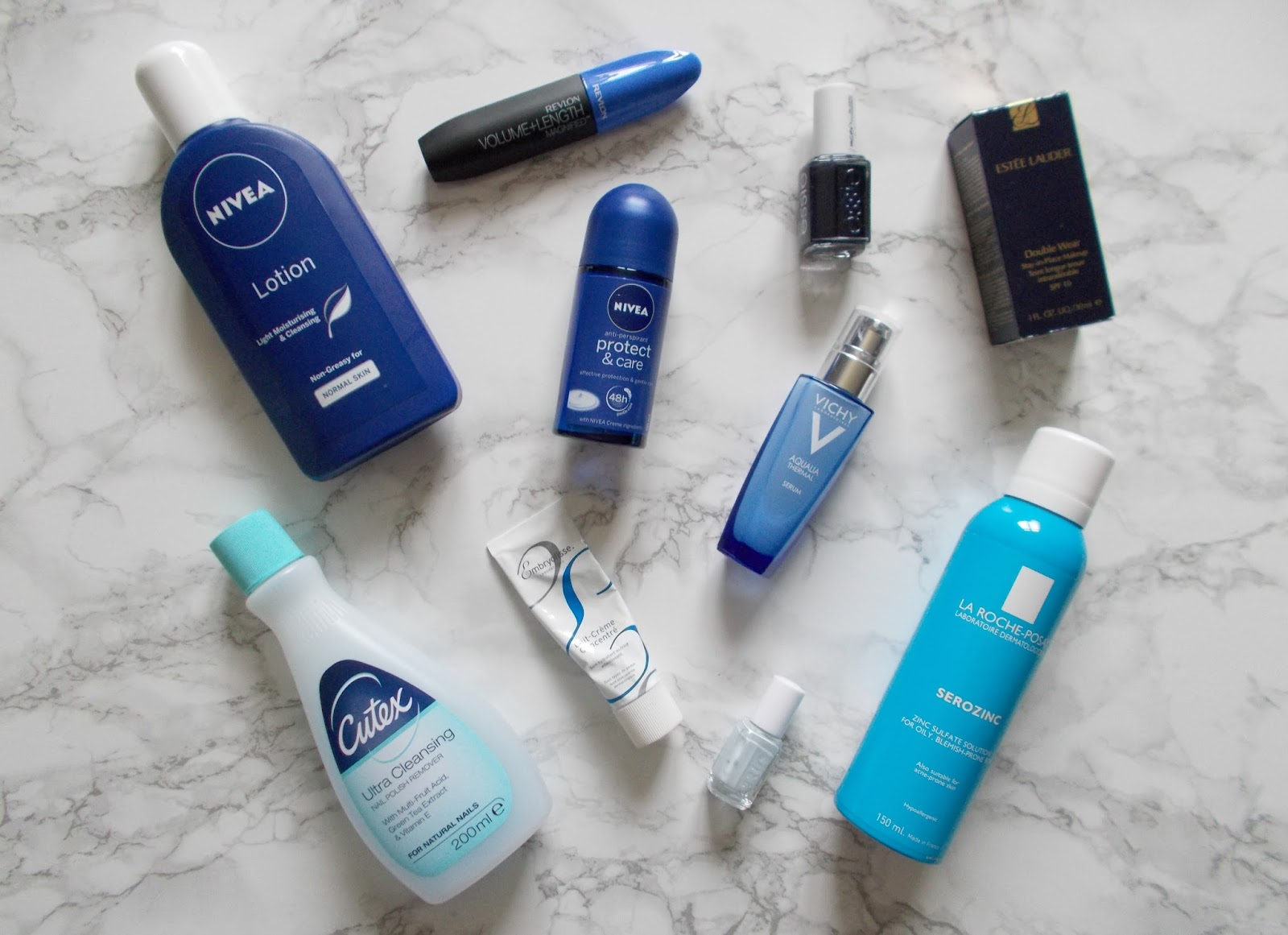 blue beauty products nivea cutex estee lauder vichy la roche posay embryolisse essie revlon