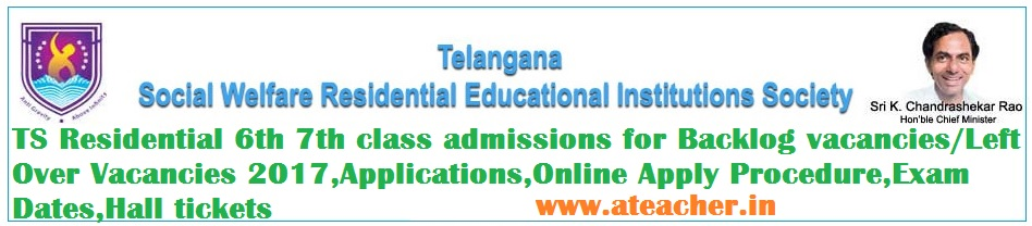 TS Residential 6th 7th class admissions for Backlog vacancies/Left Over Vacancies 2017,Applications,Online Apply Procedure,Exam Dates,Hall tickets