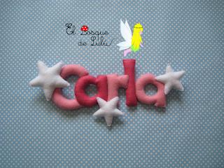 nombre-fieltro-decoración-infantil-regalo-nacimiento-name-banner-Carla-letrero-decorativo-elbosquedelulu-hechoamanoparati-personalizado