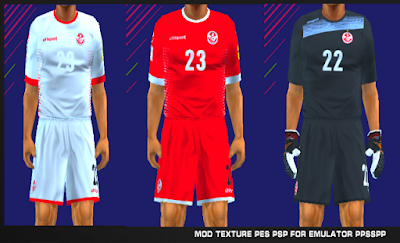 Tunisia 2018 Kits PES PSP For Emulator PPSSPP