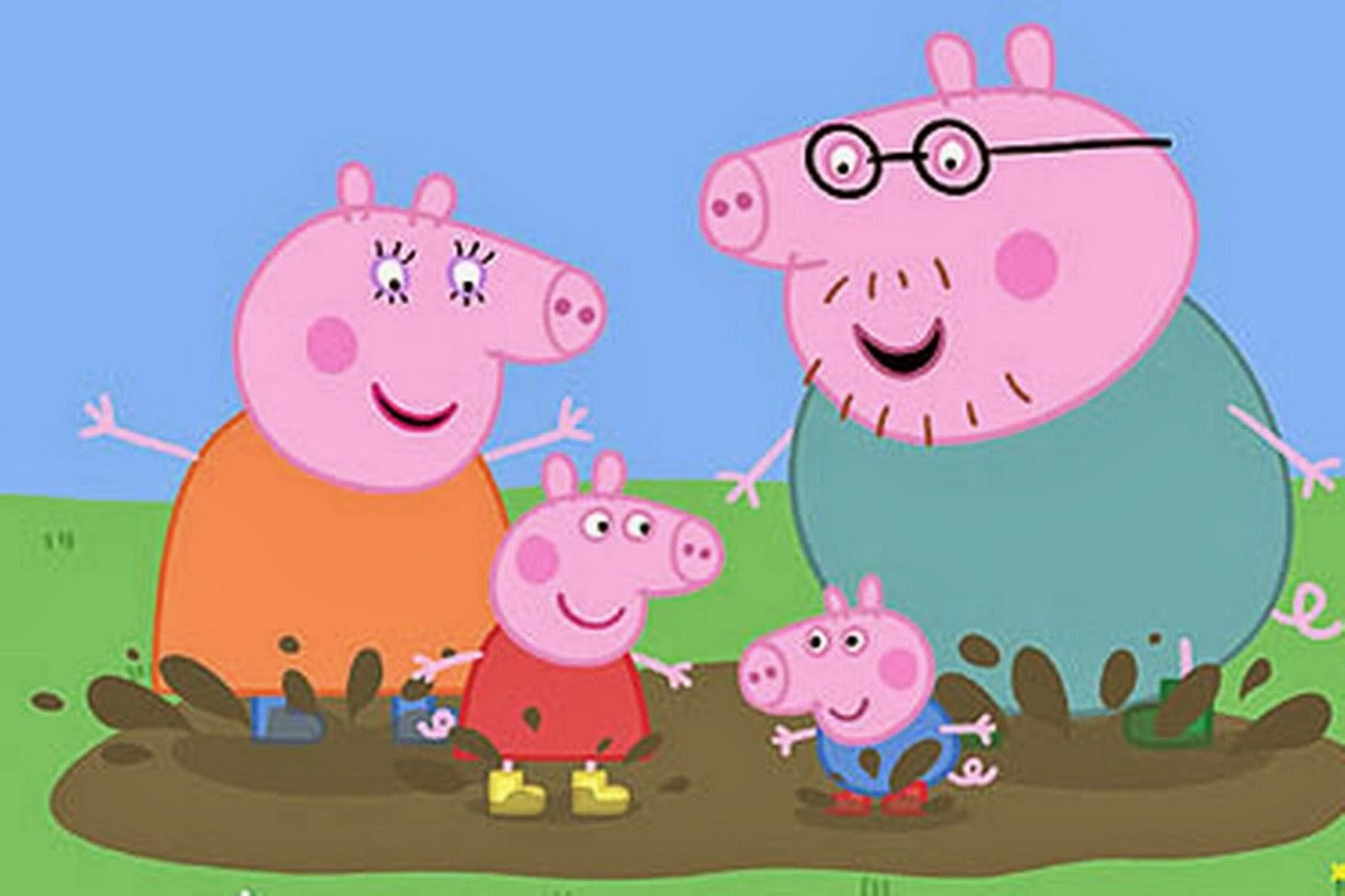 Peppa Pig con su familia saltando un charco
