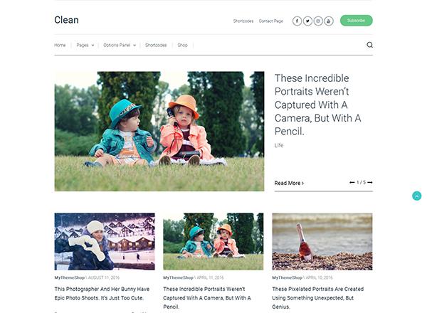 Clean Blogging WordPress Theme