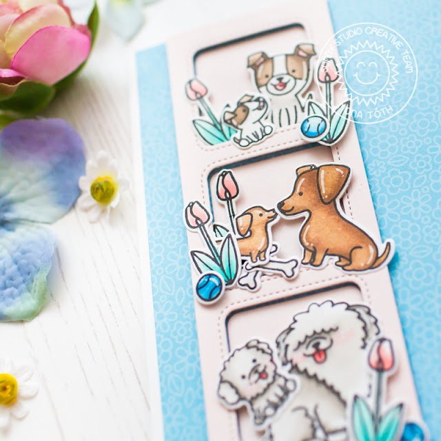Sunny Studio Stamps: Puppy Parents Window Trio Square Dies Mother's Day Card by Mona Toth