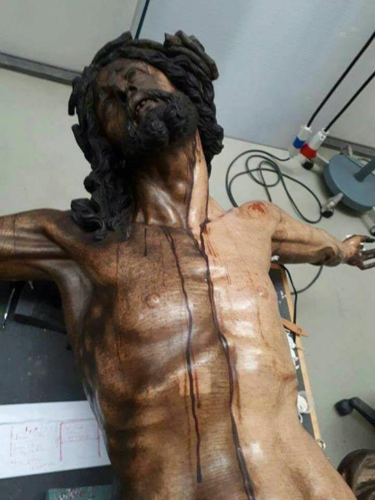 Restauración del Cristo de Vergara en el IAPH. Foto: José Juan