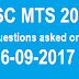 Questions asked on 16-09-2017 in SSC MTS 2016
