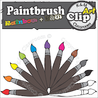 Paintbrush Clip Art in Rainbow Colors