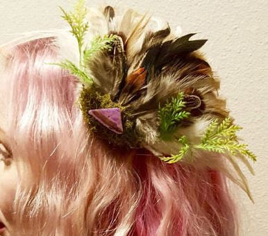 Abalone shell Feather Hair Clip