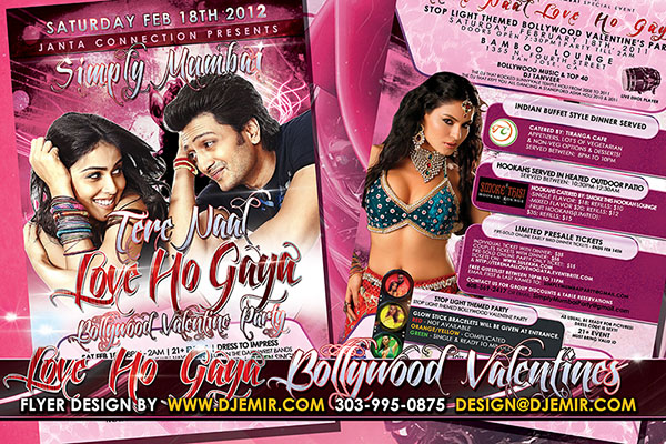 Bollywood  Stop Light Themed Valentine's Day Flyer Design California