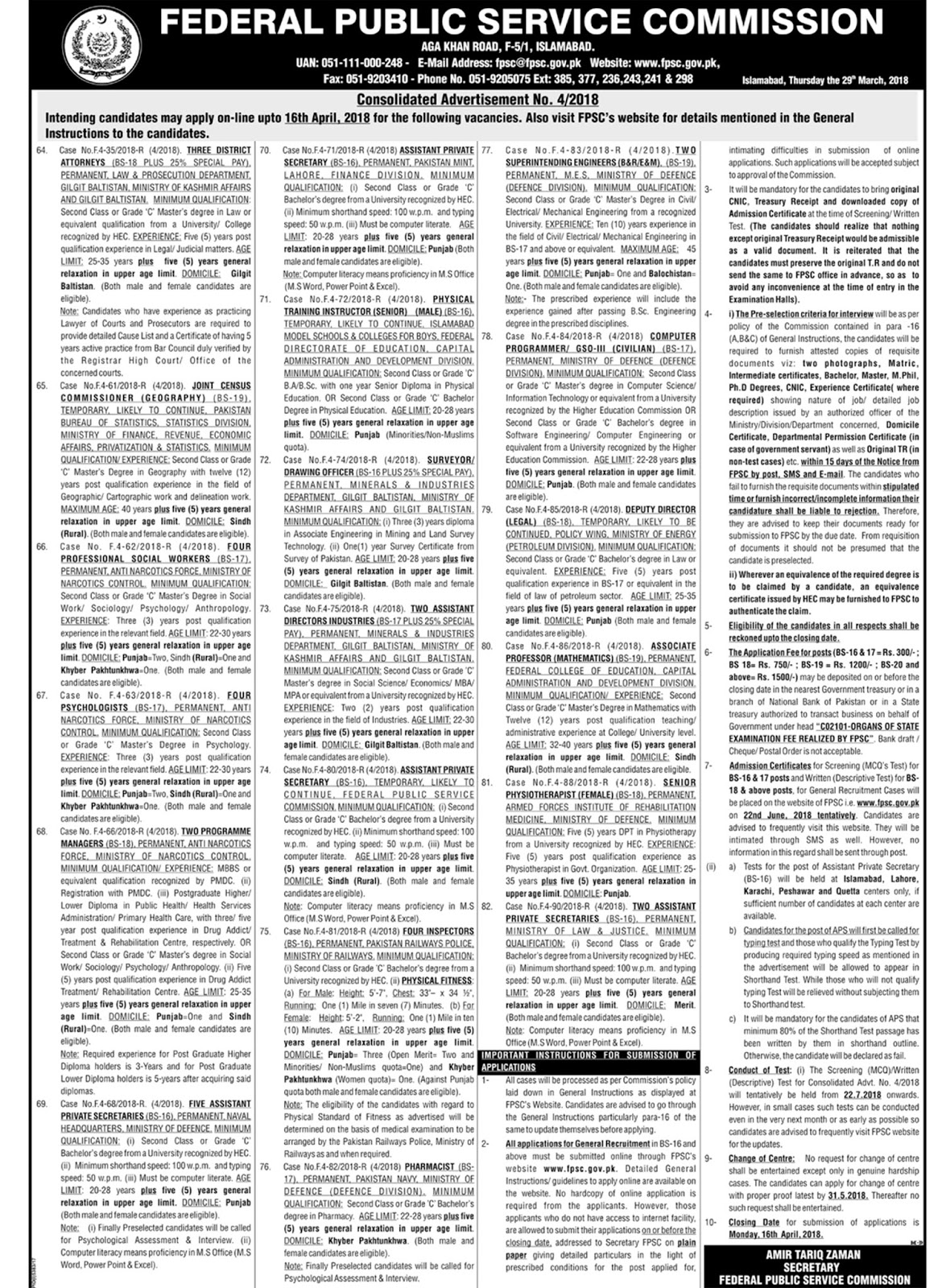 Advertisement No 4/2018 Apri