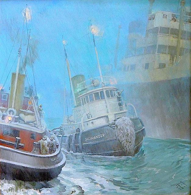 a Harold Von Schmidt color illustration of a ship with tugboats in fog