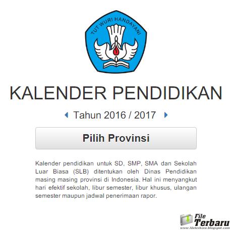 Kalender Pendidikan Sd Smp Sma Dan Slb Tahun 2016 2017 File Terbaru