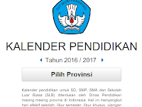 Kalender Pendidikan SD, SMP, SMA dan SLB Tahun 2016 / 2017
