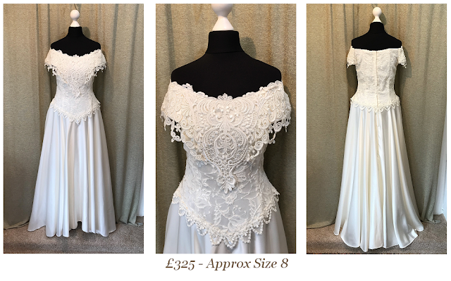 Off the shoulder vintage wedding dress, 1960s wedding dress, guipure lace avail at vintage lane bridal bolton manchester