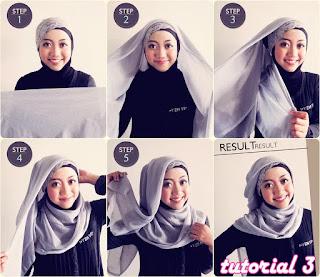 cara pakai jilbab segi empat sederhana untuk wajah bulat