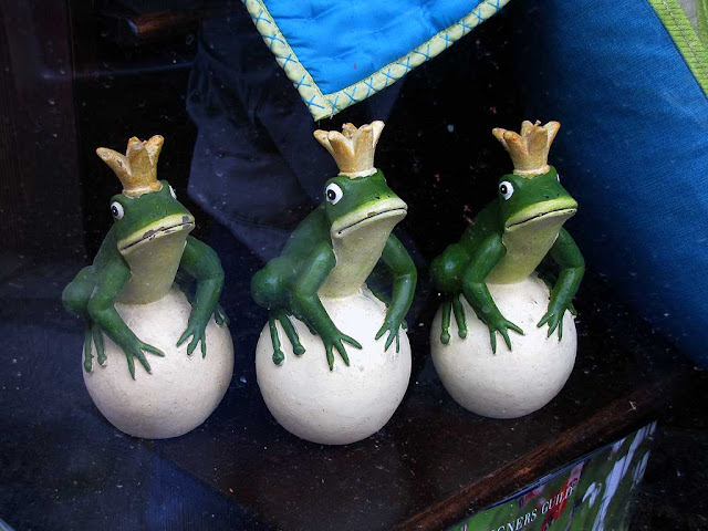 Three frog princes in a shop window, Livorno