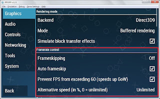 Tips Setting Emulator PPSSPP v.1.2.1 Kecepatan Emulasi Game 100%