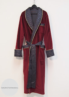 mens luxury long chamber robe housecoat shawl collar dark red burgundy grey lounge wear dressing morning gown tailored