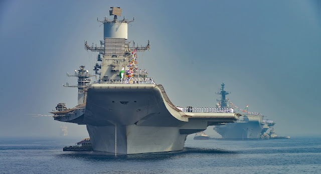 Image Attribute: Indian Navy's Aircraft Carriers - INS Vikramaditya and INS Viraat at Navy Fleet Review / Source: MoD, Government of India