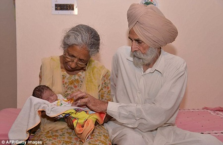 70 year old woman gives birth baby india