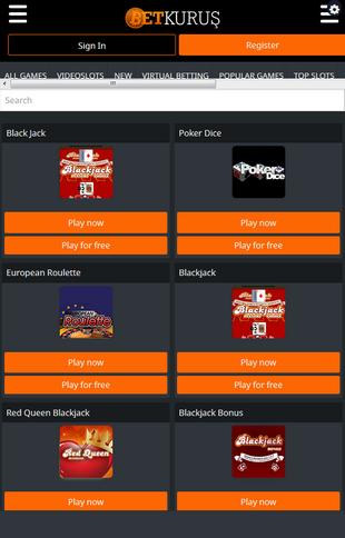 Betkurus Table Games Screen