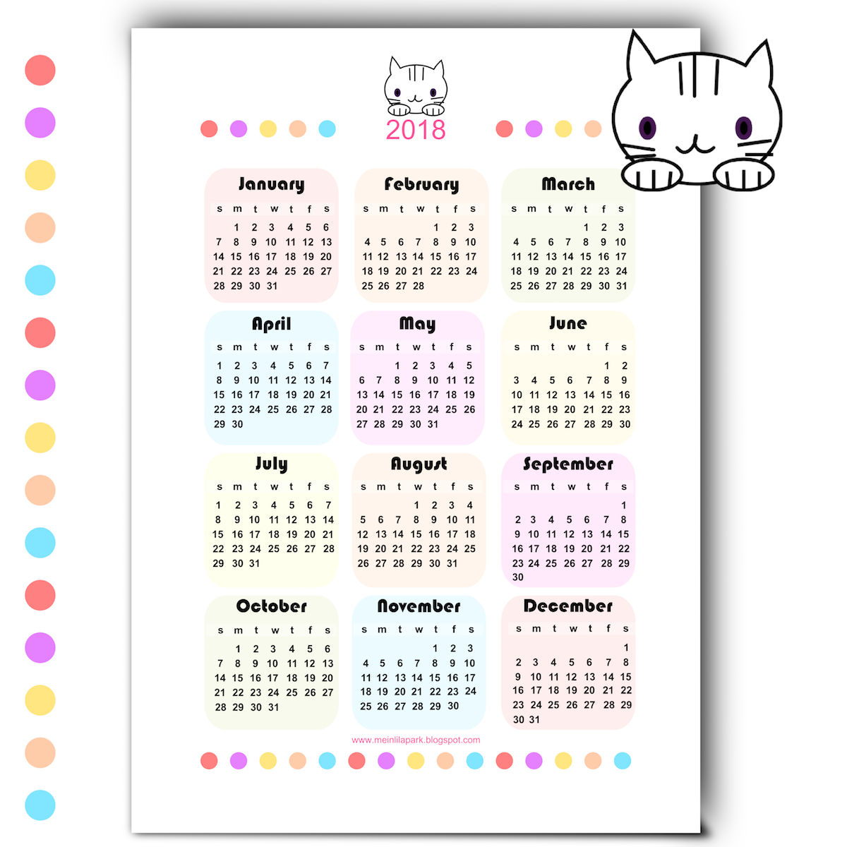 Free Printable Kawaii Calendar