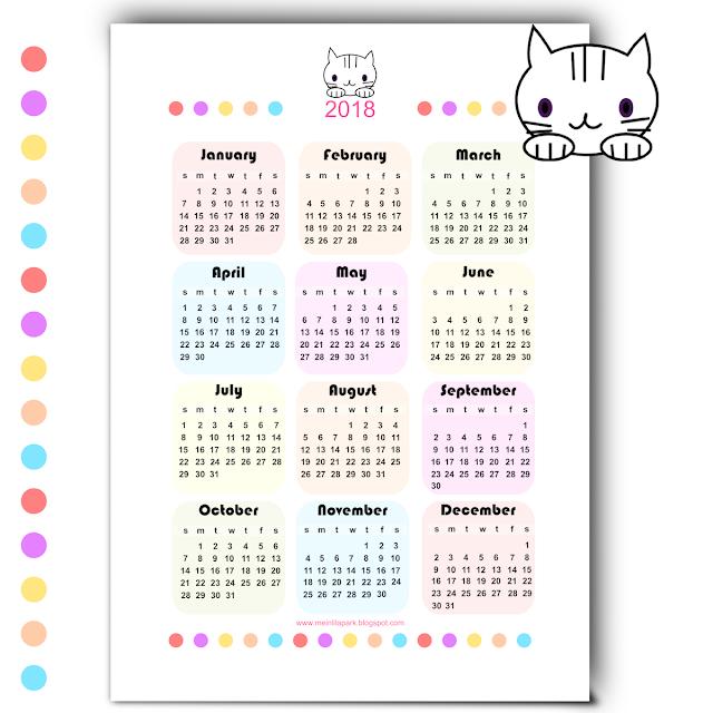 Free printable 2018 kawaii calendar - Kalender 2018