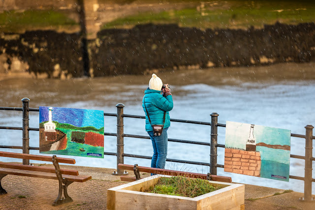 Photo of me getting wet while taking photos of Maryport across the basin. Photo by Ronnie Bell