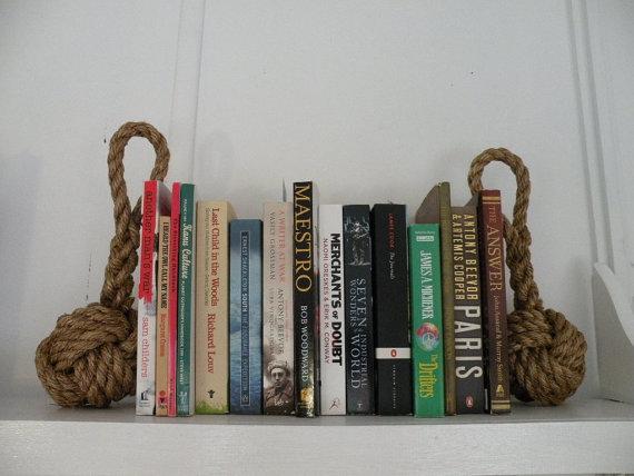 منظم الكتب بحبل من القنب