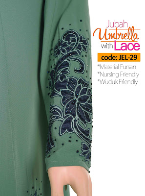 Jubah Umbrella Lace JEL-29 Sea Green Tangan 4