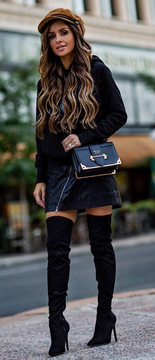 black on black + nude detail | hat + bag + sweatshirt + skirt + over the knee boots