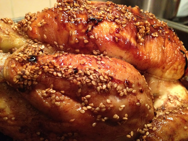 Maple-Glazed Roast Chicken with Sesame Seeds