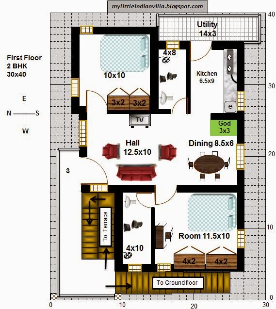 My little indian villa 25 r18 2 houses 2bhk in 30x40 for 2 bhk house plans 30x40