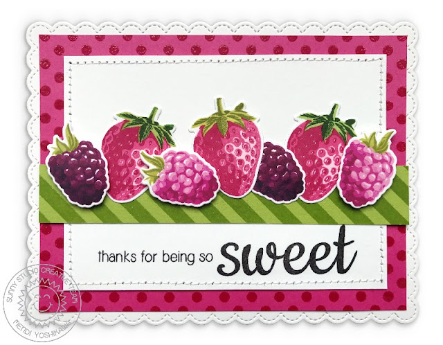 Sunny Studio: Berry Bliss Color Layering Strawberry, Boysenberry & Raspberry Card (paired with Background Basics stamps & Fancy Frames Stitched Scallop Rectangle Dies)