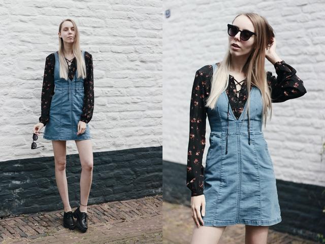 jeans salopette jurk