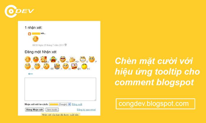 Chèn mặt cười với hiệu ứng tooltip cho comment blogspot