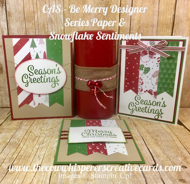 CAS, Clean and Simple, Be Merry Designer Series Paper, Snowflake Sentiments Stamp Set, Stampin Up, Card, Triple Banner Punch