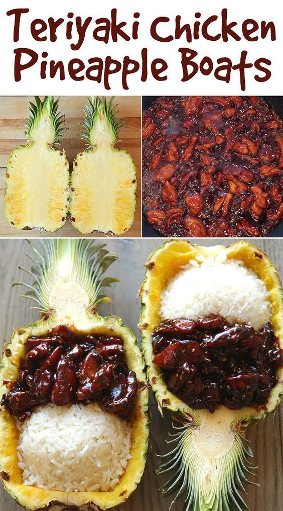 These Teriyaki Chicken Pineapple Boats are actually So Easy #teriyaki #teriyakifood #japanfood #chicken #chickenrecipes #pineapple #delicousfood #deliciousrecipes