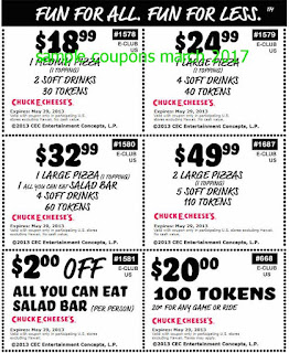 free Chuck E Cheese coupons march 2017